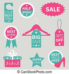 vector set of sale design elements in pink and blue