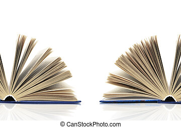 open book on a white background. horizontal photo.