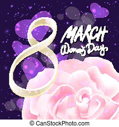 March 8 greeting card. International Womans Day. vector. pink rose. violet light background