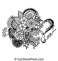 vintage heart with flowers and the words love in black on a...