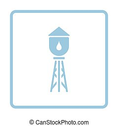 Water tower icon. Blue frame design. Vector illustration.