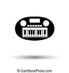 Synthesizer toy ico. White background with shadow design....