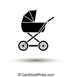 Pram ico. White background with shadow design. Vector...