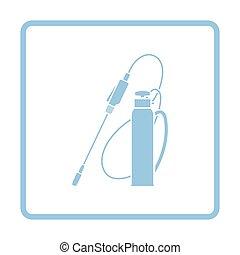Garden sprayer icon. Blue frame design. Vector illustration.