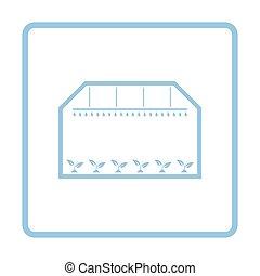 Greenhouse icon. Blue frame design. Vector illustration.