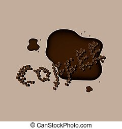 Spilled coffee and grains - Coffee break spelled out in...