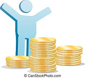 Symbolic man with a gold coins - Business illustration with...