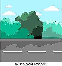 Street in flat cartoon style