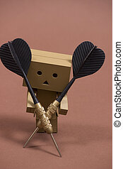 Danbo with darts and dartboard