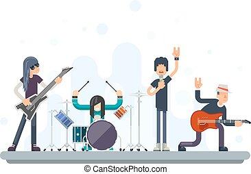 Heavy Hard Rock Folk Group Band Music Icons Guitarist Singer Bassist Drummer Concept Flat Design Vector Illustration