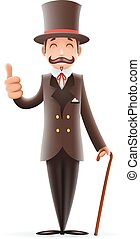 Gentleman Victorian Business Cartoon Character Icon English...