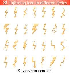 Isolated lightning thunder bolt pictogram icons set design elements vector illustration