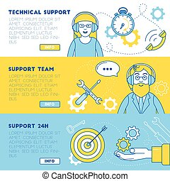 Technical support banners. Support team ready to help solve...