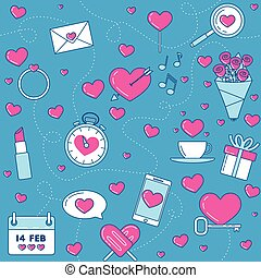 Pink line design love background. Ring, romantic music, love messages, love is in the air.