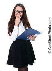 Surprised brunette in a white blouse in glasses. Business...