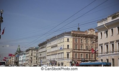 Saint-Petersburg city Nevsky prospect pan