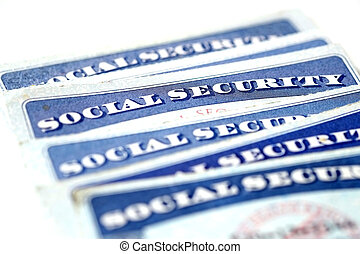 Social Security Cards in a Row Pile for Retirement - Social...