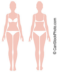 Female body in full length measurement parameters for...