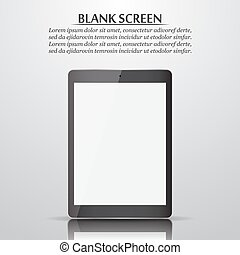 Blank screen. Tablet with reflection and shadow. Vector illustration