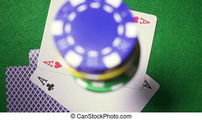 Playing cards on the chips fall casino super slow motion