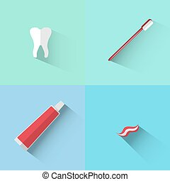 Objects of tooth, brush and paste