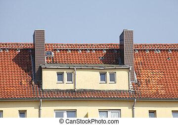 Dach, Dachfenster, Schornsteine