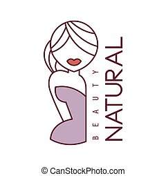 Natural Beauty Salon Hand Drawn Cartoon Outlined Sign Design...
