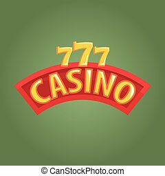 Casino Label Outdoor Sign In Red And Golden Colors, Gambling...