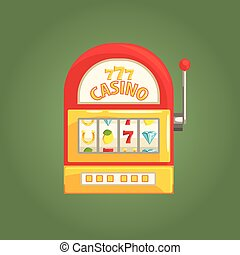 One-Armed Bandit Slot Machine, Gambling And Casino Night Club Related Cartoon Illustration