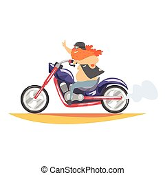 Outlaw Biker Club Member With Long Beard Riding Fast Heavy...
