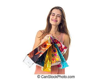 袋, 目, 保有物, 彼女, 若い, 隔離された, うれしい, 背景, 白, 贈り物, 女の子, 閉じられた