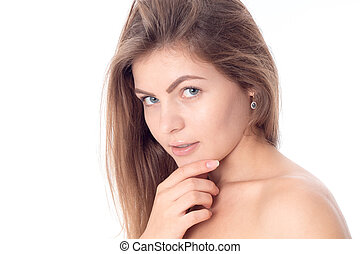 Portrait of a young beautiful girl with her hair without...