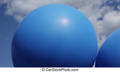 Blue and white baloons