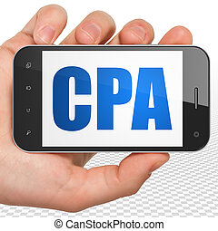 Finance concept: Hand Holding Smartphone with CPA on display...