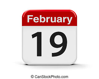 19th February - Calendar web button - The Nineteenth of...