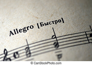 """Musical tempo """"Allegro"""" in a music notebook close up"""