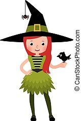Little girl in a druid witch costume with a crow in the...