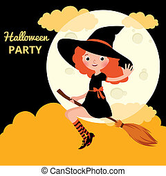 Little red haired witch flying on a broom on background of...