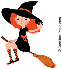 Little redhead sexy Halloween witch flying on a broomstick...