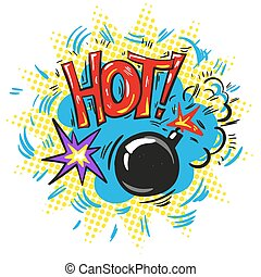 Pop art retro comic speech bubble with exploding bomb