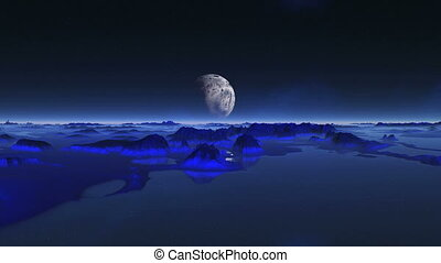 Alien Planet Reflected In Water - The large planet (moon), a...