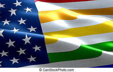 closeup of american USA flag background, stars and stripes with colorful of gay pride rainbow flag, united states of america and civil right flag,no racism, peace and love no war