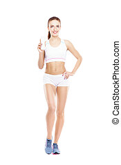 Fit, healthy and sporty woman in sportswear isolated on white.