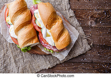 Picture of sandwich on paper
