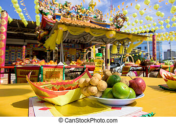 sacrificial offering for god at chinese shrine in Thailand