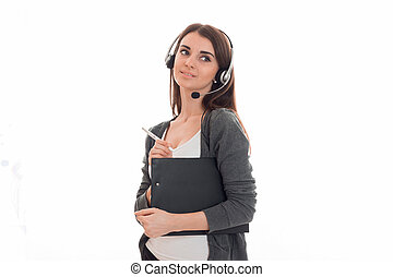 portrait of young cute call center worker girl with...