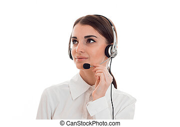 portrait of young beautiful call center worker girl with...