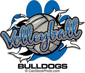 bulldogs volleyball team design with ball ripping through...
