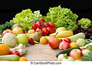 有机, 健康, 蔬菜,  -, 食物, 水果