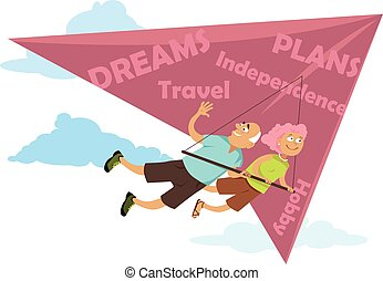 Baby boomers retiring. Middle age couple flying on a...